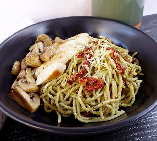 Chicken basil pesto spaghetti