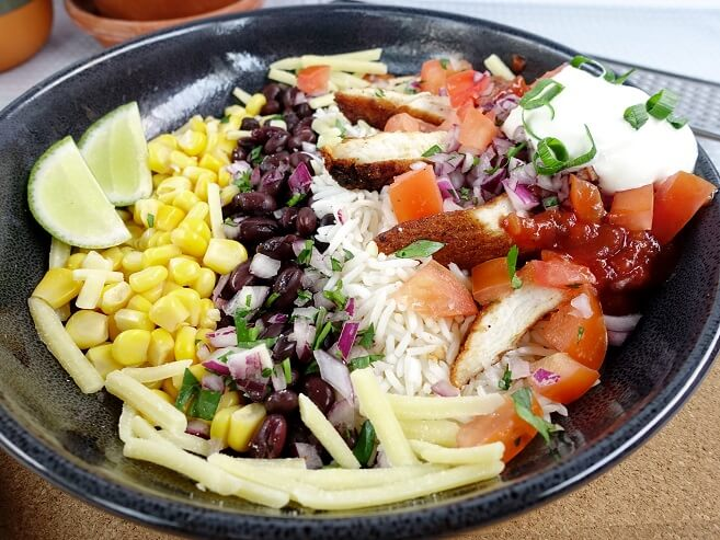 Naked chicken burrito bowl