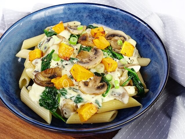 Creamy chicken penne with mushroom, spinach and roasted pumpkin