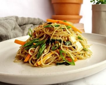 Chicken with stir fry sweet potato noodles