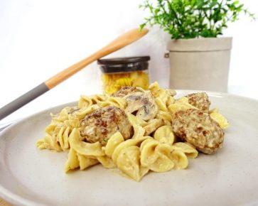 Meatball stroganoff with spiral pasta