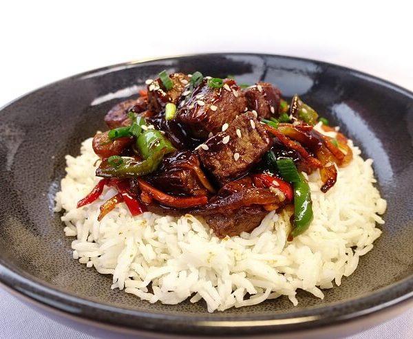 Mongolian beef with basmati rice
