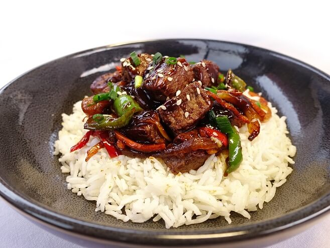 Mongolian beef with basmati rice