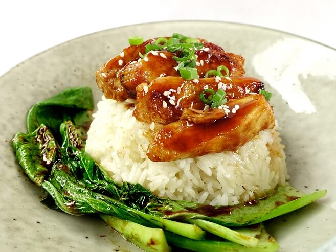 Honey soy glazed chicken with basmati rice and asian greens