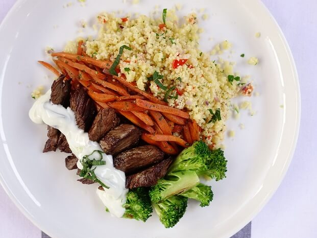 Mediterranean grilled lamb with couscous and tzatziki sauce