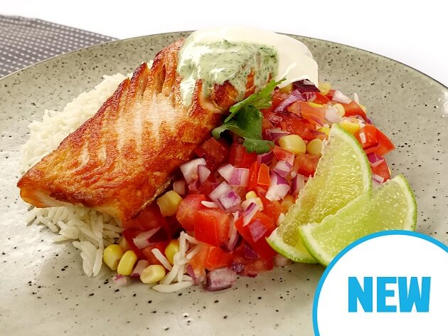 Salmon bowl with cilantro lime dressing