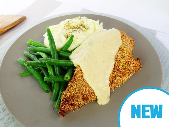 Parmesan crusted chicken with creamy garlic herb sauce