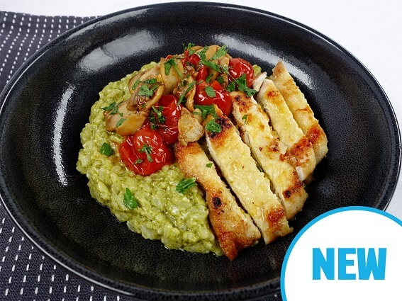 Parmesan crusted chicken with pesto risotto