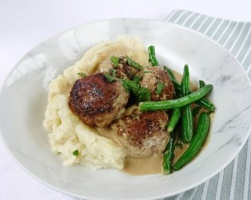 Swedish beef meatballs with white potato mash and beans