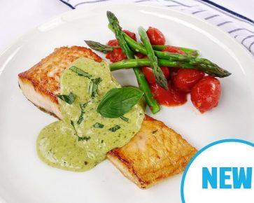 Salmon with light creamy basil pesto sauce