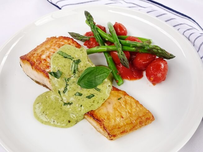 Salmon with light creamy basil pesto sauce