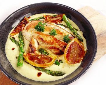 Creamy lemon chicken with asparagus and basmati rice