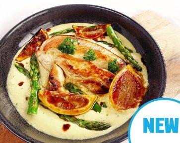 Creamy lemon chicken with asparagus and basmati rice