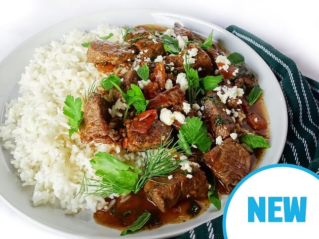 Hearty beef stew with basmati rice