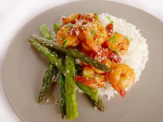 Garlic honey lime prawns with basmati rice and asparagus