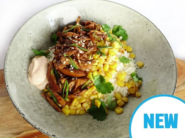 Pulled chicken with garlic butter corn, spicy mayo and rice